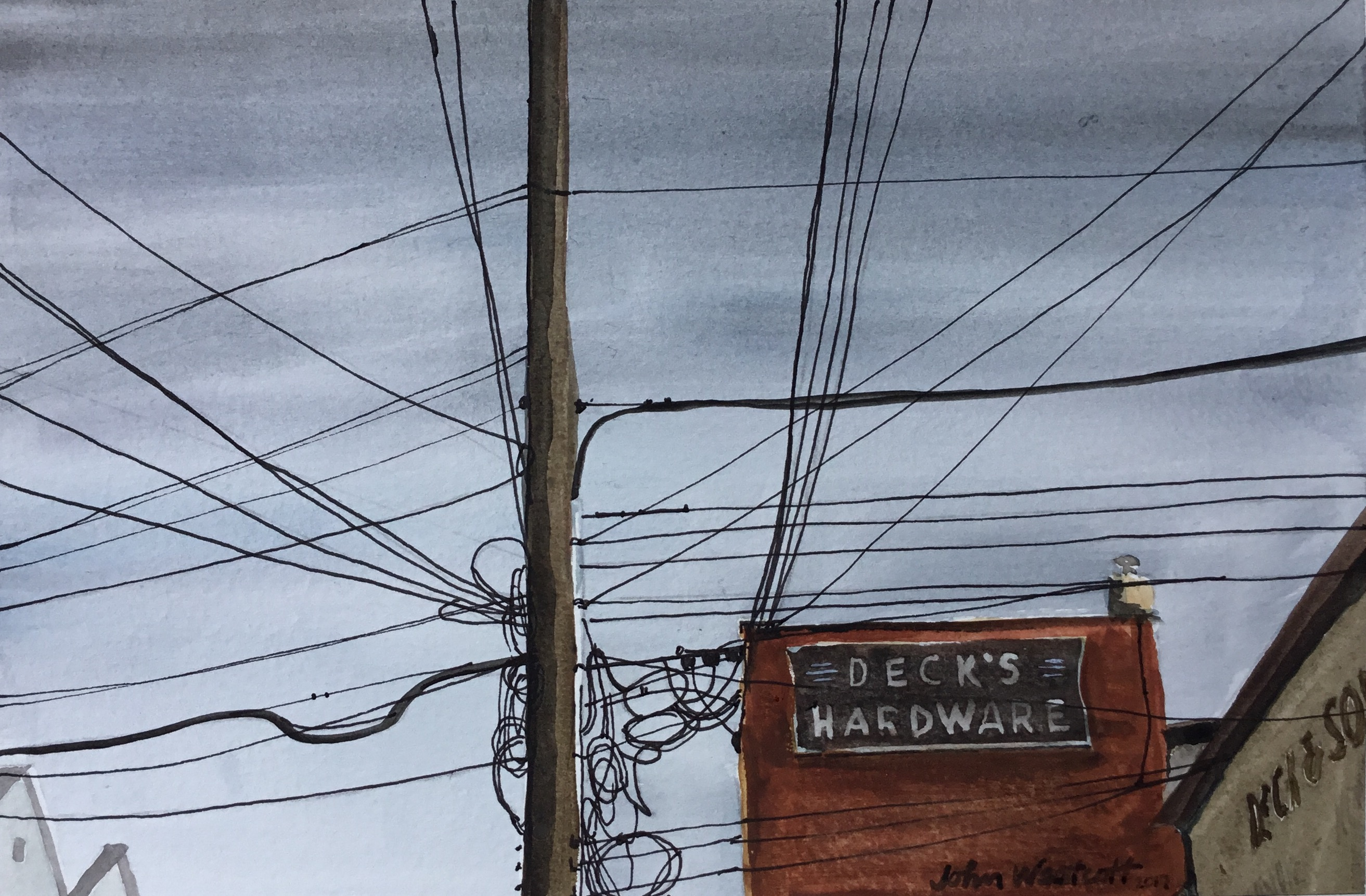 Tangle of Powerlines at Decks Hardware