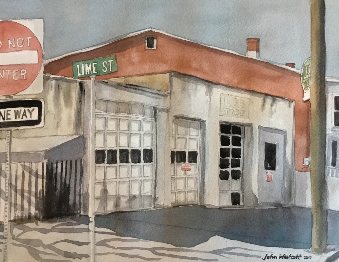 Abandoned Garage On Lime Street Watercolor Paper 9 X 12